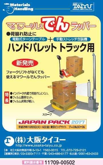 電動式ターンテーブル付手動ストレッチ包装機