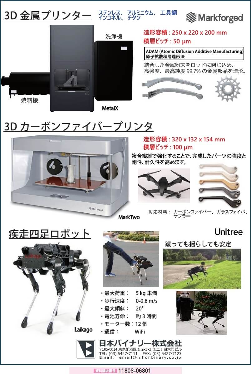 3D金属プリンタ/3Dカーボンファイバープリンタ/疾走四足ロボット